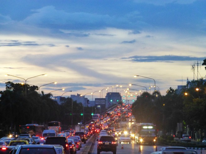 City road in the evening, Bangkok